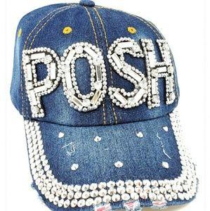 POSH Denim Hat Adjustable NWT Rhinestones